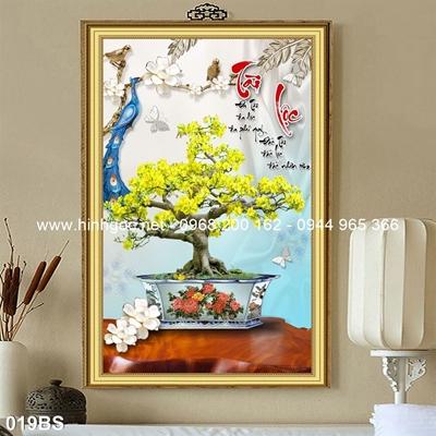 Tranh 3D cây bonsai- 019BS