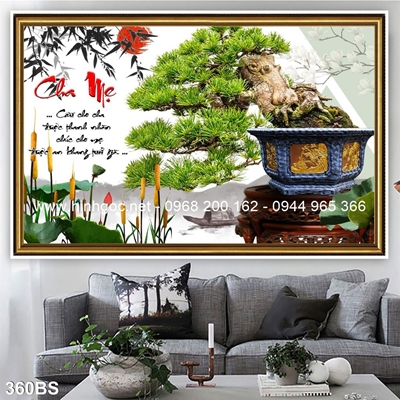 Tranh 3D cây bonsai- 360BS
