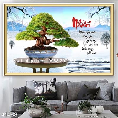 Tranh 3D cây bonsai- 414BS