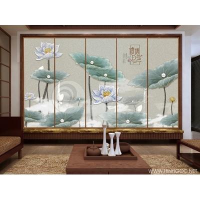 bộ tranh hoa sen 3d 5 bức - 888-74