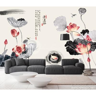Mẫu tranh hoa sen vẽ - CS014