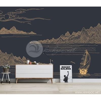 Mẫu tranh núi thuyền về đêm - CS019