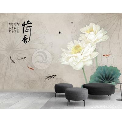 Mẫu tranh hoa sen trắng - CS088