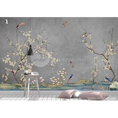 Mẫu tranh hoa đào và chim - CS125