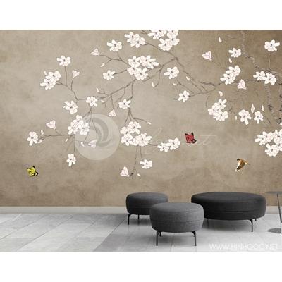 Mẫu tranh hoa đại trắng - CS130