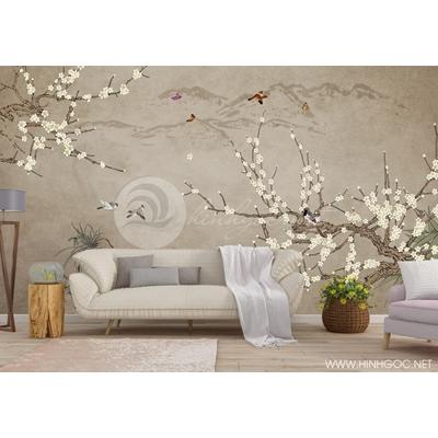 Mẫu tranh hoa đào và chim - CS142