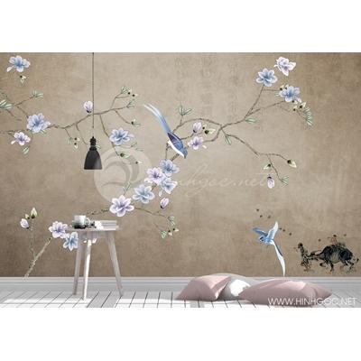 Mẫu tranh hoa và chim - CS145