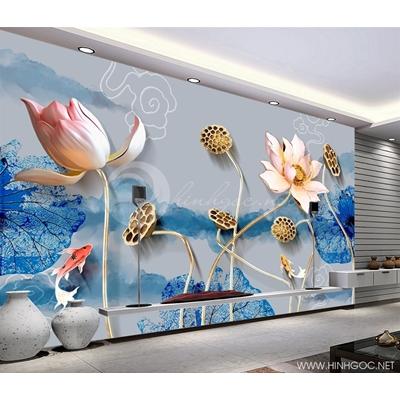 Mẫu tranh cá chép hoa sen tàn - CS156