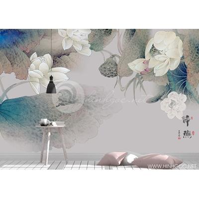 Mẫu tranh hoa sen tàn - CS157