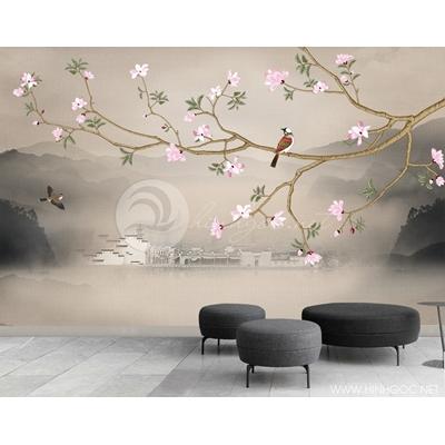Mẫu tranh hoa và chim - CS169