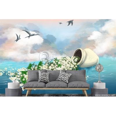 Trừu tượng lọ hoa trên biển - DT41