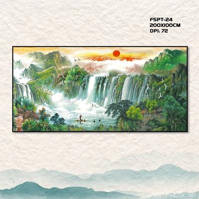 Tranh thác nước và núi - FSPT-24