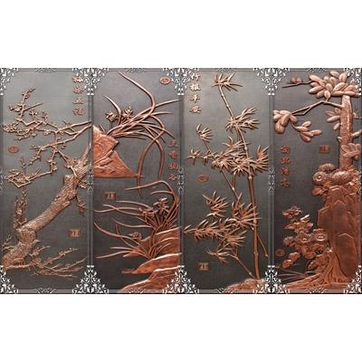 Tranh tứ quý giả gỗ mẫu 2
