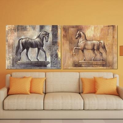 Tranh vẽ hai chú ngựa NT26