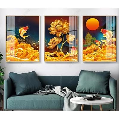 Tranh 3D cá chép hoa sen vàng kim - ODOO19261666