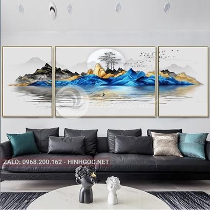 Tranh bộ 3 bức ghép, dãy núi trùng điệp, cây trên sông trừu tượng-PLT-S-1173