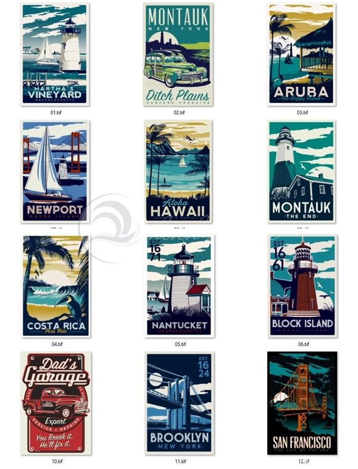 Set 12 mẫu tranh châu âu poster - SH01