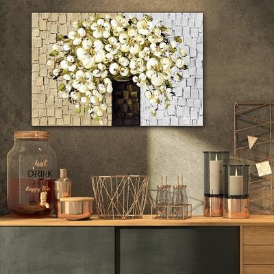Tranh bó hoa trắng sơn dầu trang trí - STTV5-14