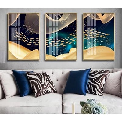 Bộ ba tranh trang trí thếp vàng đàn cá - STTV5-22