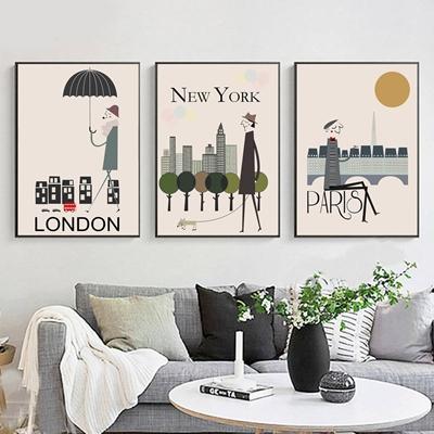 Bộ ba bức trang trí London, New York, Paris - STTV5-52