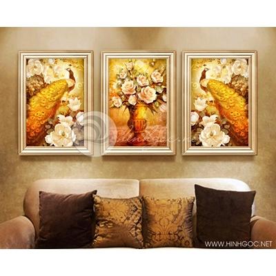Bộ ba bức hỷ tước trang trí tông vàng  - TBAV12-09