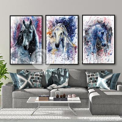 ba bức ngựa màu nước nghệ thuật - TBAV12-11