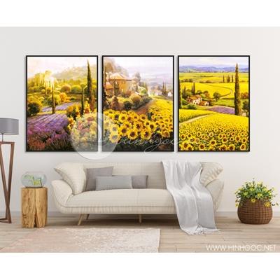 bộ ba bức trang trí phong cảnh sơn dầu - TBAV12-17
