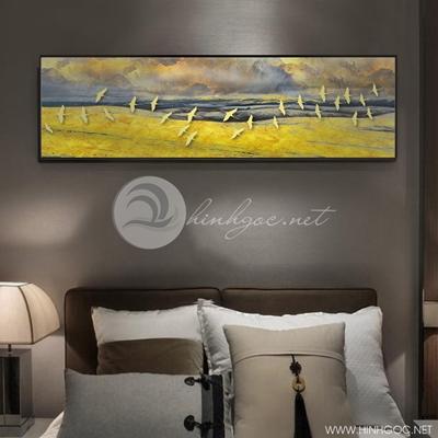 trang trí phòng ngủ phong cảnh mặt trời và đàn chim - TBAV12-19