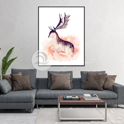 hươu nghệ thuật màu nước - TBAV12-21