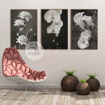 hoa đen trắng trang trí nghệ thuật  - TBAV12-34
