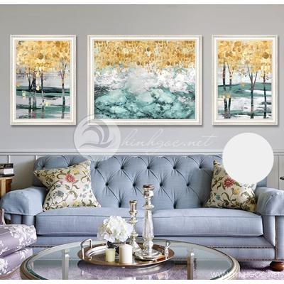 trừu tượng ba bức cây vàng nghệ thuật  - TBAV12-62