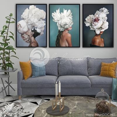 ba bức cô gái và hoa nghệ thuật  TBAV12-68