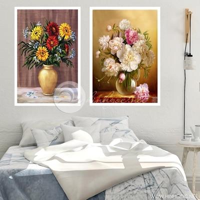 Hai bức bình hoa sơn dầu nghệ thuật  - TBAV12-74