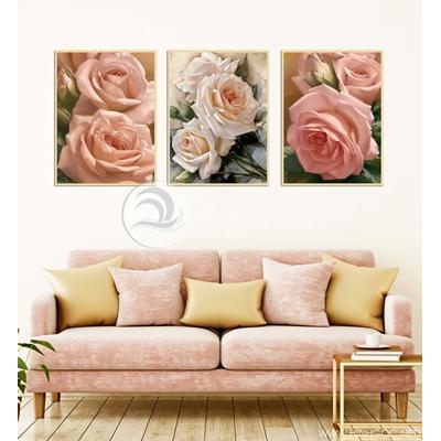 ba bức hoa hồng nghệ thuật trang trí - TBAV12-90