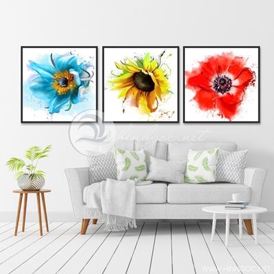 ba bức hoa màu nước màu sắc đẹp - TBAV12-91