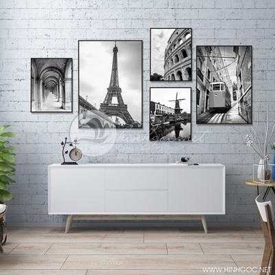 Paris tranh bắc âu hiện đại đen trắng - TBAV12-93