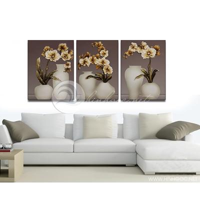 ba bức bình hoa 3D nổi - TBAV12-95