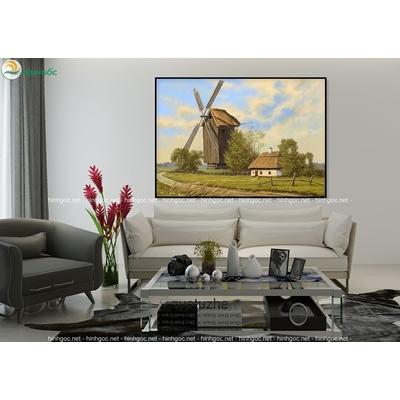 Tranh đơn ngôi nhà và cối xay gió TBAV6-30