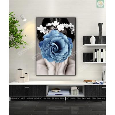 Tranh cô gái và hoa hồng xanh TT80