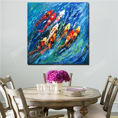 Tranh sơn dầu đàn cá koi TV507