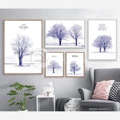Bộ cây mùa đông màu tím than - VM52