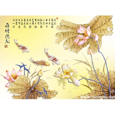 Tranh hoa sen và cá chép-BJ-002