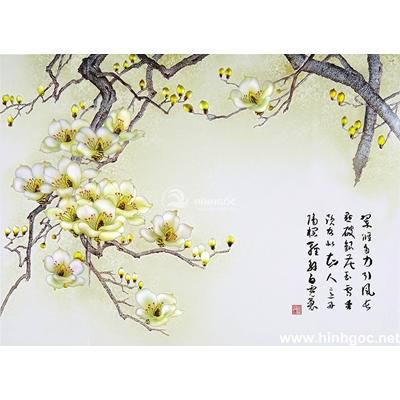 Tranh hoa đào đẹp trang trí-BJ-011