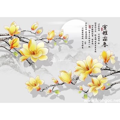 Tranh hoa đào đẹp trang trí-BJ-019