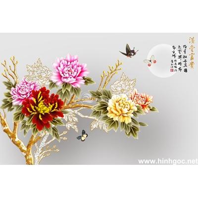 Tranh hoa mẫu đơn trang trí-BJ-029