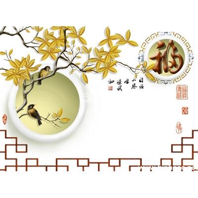 Tranh trang trí tường đẹp hoa và đôi chim-BJ-041