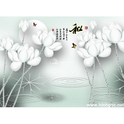 Mẫu tranh hoa sen trắng trang trí-BJ-042