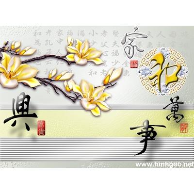 Tranh trang trí cành hoa vàng-BJ-049