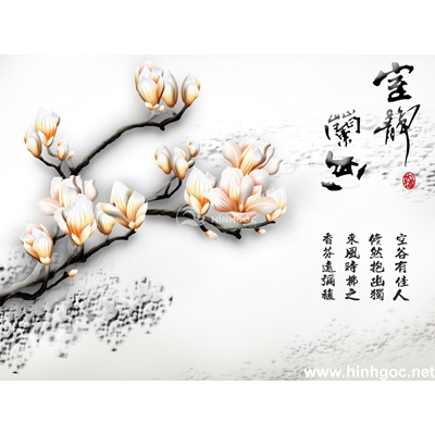 Tranh trang trí cành hoa trắng-BJ-066