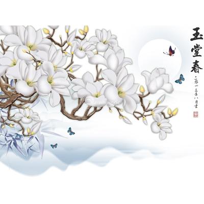 Tranh trang trí cành hoa trắng-BJ-074